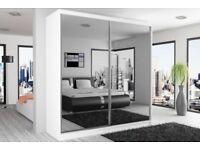 70% OFF - NEW BERLIN FULL MIRROR 2 DOOR SLIDING WARDROBE -BLACK WENGE WHITE - 120 150 180 203 250 CM