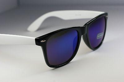 White Wayfarer Sunglasses (Black White Retro Vintage sunglasses /w blue ice Mirror lens 80's wayfare)