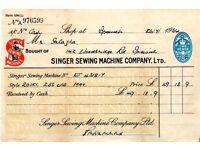ANTIQUE VINTAGE SINGER SEWING MACHINE RECEIPT EJ431817 201K IPSWICH