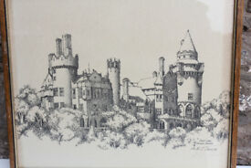 Vintage Framed Print Casa Loma Toronto Canada Albert Casson Signed Dated 1977 Art Picture