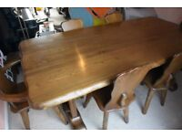 Elm wood handmade, bespoke dining table plus chairs, coffee tables and dresser