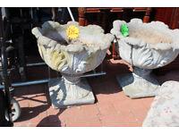 Ornate concrete flower pots