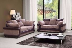 New Jumbo Dino 3 + 2 Seater Set and Corner Fabric Sofa Black & Grey + Brown & Beige Colours