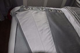 Grey lined Ring Top Curtains. 72 ins long x 60 ins Wide Very Good Condition £ 10