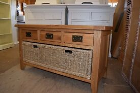 Montague Oak Basket Shelf and Shoe Bench Set