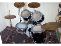 5pc Black Pearl Export Drum Kit with Sabian cymbals, accessories and stick set