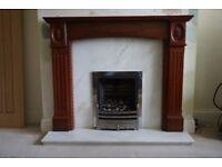 dark wood fire surround + marble surround and hearth