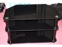 black glass television stand