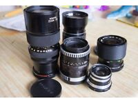 5 working manual focus lenses, prime and zooms working with some issues sony,fuji,olympus,canon etc