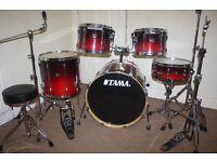 "Tama Superstar Hyper-Drive Custom Scarlet Fade 5 Piece Drum Kit 22"" Bass + Stands + Stool + Cymbals"