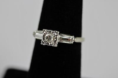 Vintage 14K White Gold & Diamond Signed