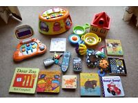 BABY TOY BUNDLE 21 ITEMS INCLUDE LAPTOP, MUSICAL STATION, SAUCEPANS, ELC SOUND GADETS, BOOKS