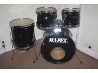 "Mapex Venus Black 5 Piece Drum kit - 12"" + 13"" + 16"" Toms + 22"" Bass + 14"" Snare DRUMS ONLY"