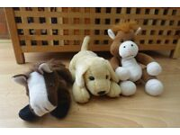3 cute soft toys - 2 horses and a Labrador puppy