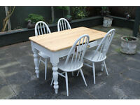 shabby chic farmhouse table and four elm chairs