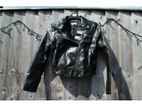 Girls H&M faux black leather jacket, aged 13-14
