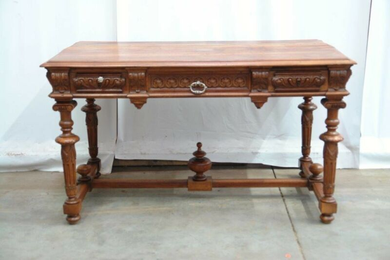 Antique French Walnut Renaissance Henry II Style Writing Desk Table