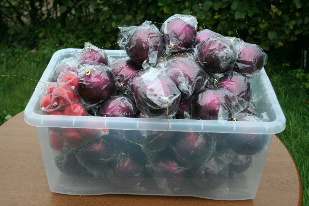 "Job Lot of CHRISTMAS TREE BAUBLES, inc. 48 x LARGE (4"") aubergine colour; collect nr. Swansea Valley"