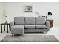 Harris Corner Sofa Peppered Gray Fabric - RRP £649