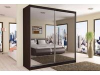 ORDER NOW FULLY MIRRORED TWO DOOR = SLIDING DOOR WARDROBE BRAND NEW WE DO SAME OR NEXT DAY DELIVERY