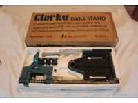 DRILL STAND MADE BY CLARKE MODEL NO. CDS1. CONVERTS YOUR HAND DRILL INTO A PILLAR DRILL.