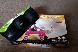 La Sports Pink junior adjustable quad skates Size 37 - 40