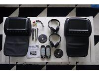 "Audi DVD Headrest Kit - HD905 2 x 9"" Displays Plus Remotes and Headphones"