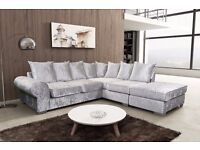 ROYAL CRUSHED VELVET CORNER SOFA WITH FREE UK DELIVERY & SHIPPING***AVAILABLE IN VARIOUS SHADES