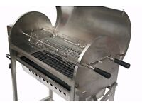 Galaxy Adjustable Charcoal BBQ with Rotisserie - Heavy Duty Stainless Steel