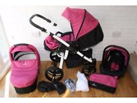 Venicci Vento pram travel system with car seat 3 in 1 - pink / white **can post***