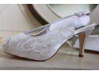Wedding Shoes SIZE 5 Platform Lace Sling Back Peep Toe Heels, Ivory