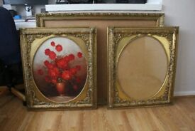 Various frames - 1 Large grey frame with mirror and 3 Medium and Large gold bevelled edge frames