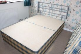 Used (in Excellent Condition) - Double Divan Bed (with 4 drawers) + Mattress + Metal Headboard