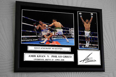 """AMIR KHAN PHIL LO GRECO Fight Framed Canvas Print Signed """"Great Souvenir"""""""