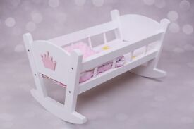 new white wooden cradle bed with bedding gift xmas