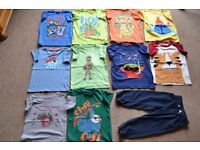 CHILD'S CLOTHES BUNDLE - 15 T SHIRTS, 1 TROUSERS & NEW HOODED JACKET IN V.G.C.