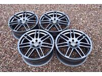 "18"" Audi RS4 Style Alloy Wheels Gloss Grey 5x100 Mk1 TT A3 Mk4 Golf Seat Leon"
