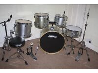 Mapex V Series Silver 5 Piece Full Drum Kit complete with Sabian Solar Hi Hat and Cymbal Set