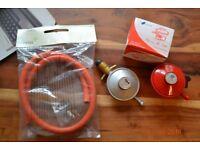 Calor gas / patio heater gas hose, clips and regulators (x2)