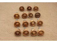 Wooden Round Doorknobs x15 - JOB LOT - Mickleover - Complete with Screws - Kitchen