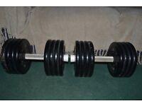 Pair of Eleiko black steel fixed dumbbells 41kg