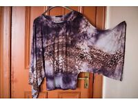 Boho style top Purple(ish) with golden brown pattern tie dye inspired with long wide sleeves