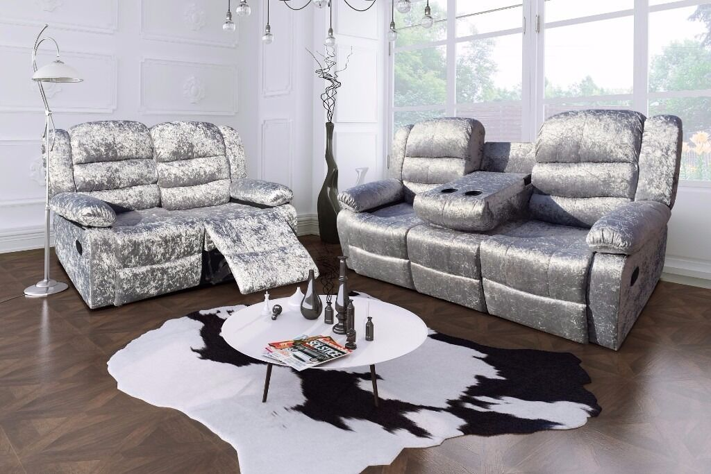 Very Nice Crushed Velvet 3 And 2 Seater Sofas Recliners 3