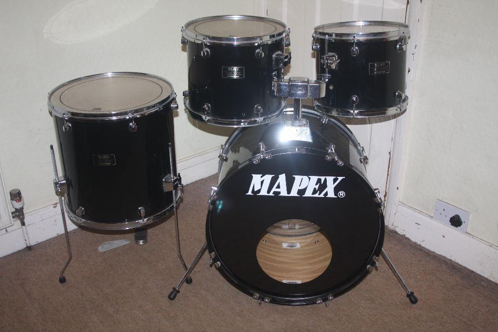 Mapex venus black 5 piece drum kit 12in 13in 16in toms for 14 inch floor tom