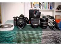 Nikon D5000 + 3 lenses (Nikon DX 35mm 1.8, Sigma DC 17-70 2.8 OS HSM, Nikon DX 18-55mm) + tripod