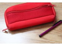 Red Nintendo DS Case With Purple Stylis