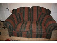 TWO SEATER SOFA,ULTRA COMFY IN SHADES OF RUST & DARK GREEN BOUGHT FROM JOHN LEWIS GREAT CONDITION