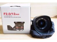 Samyang 12mm f2 NCS CS lens - Sony E-mount - Great Condition