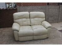 Cream Two Seater Leather Recliner Sofa