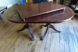 Wooden extending dining table with 4 chairs